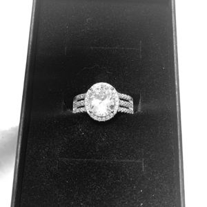 Sterling silver Oval CZ engagement/wedding ring